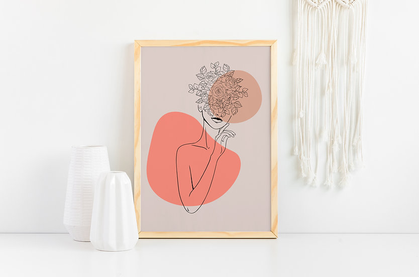 Abstract Floral Modern Women Line Art Print
