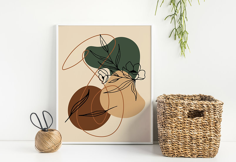 Dark Green and Terracotta Abstract Line Art Floral Print