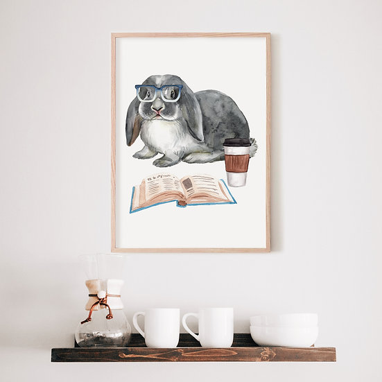 Gray English Lop Bunny Print