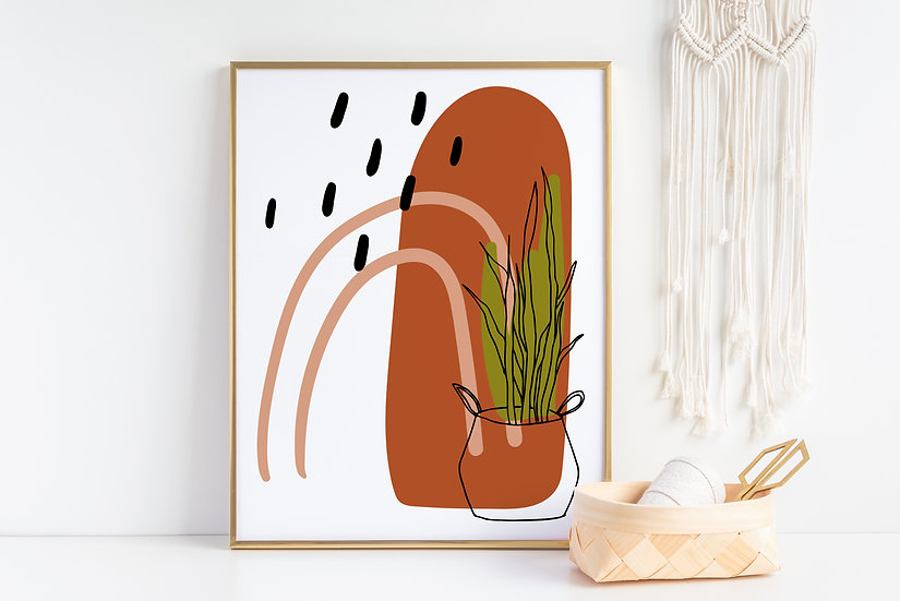 Abstract Botanical Mid Century Modern Print