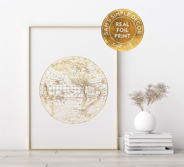 World Map - Real Foil Print