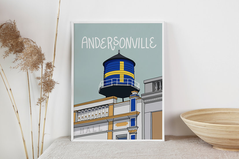Hand Illustrated Andersonville Art Print