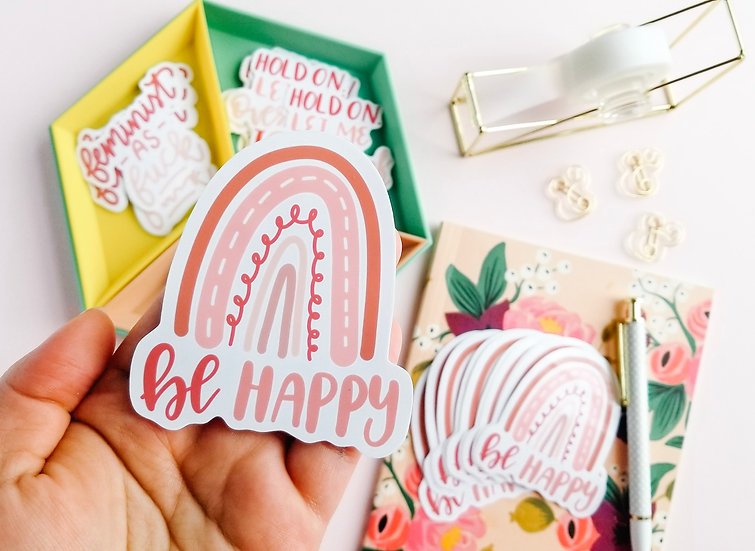 Be Happy Boho Rainbow - Quote Sticker