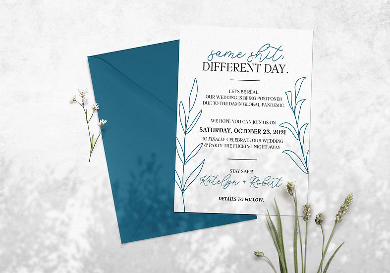 Same Shit, Different Day - Sassy Change the Date Wedding Card