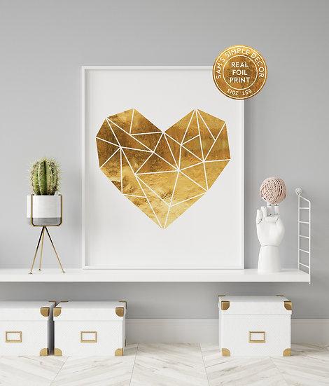 Geometric Heart - Real Foil Print