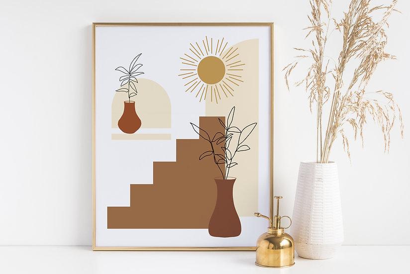 Mid-Century Modern Apartment Botanical Line Art Print