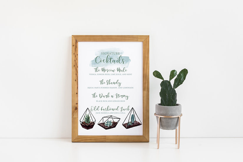 Succulent and Cactus Watercolor Signature Drinks Wedding Sign