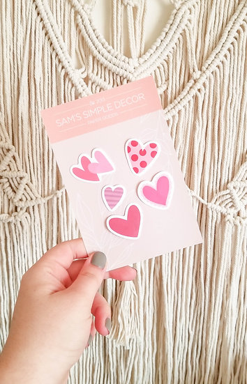 Set of 5 Mini Hearts - Handmade Valentine's Sticker