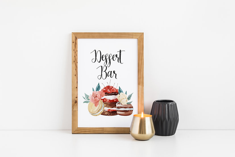 Macaroon and Cake Dessert Table Wedding Sign