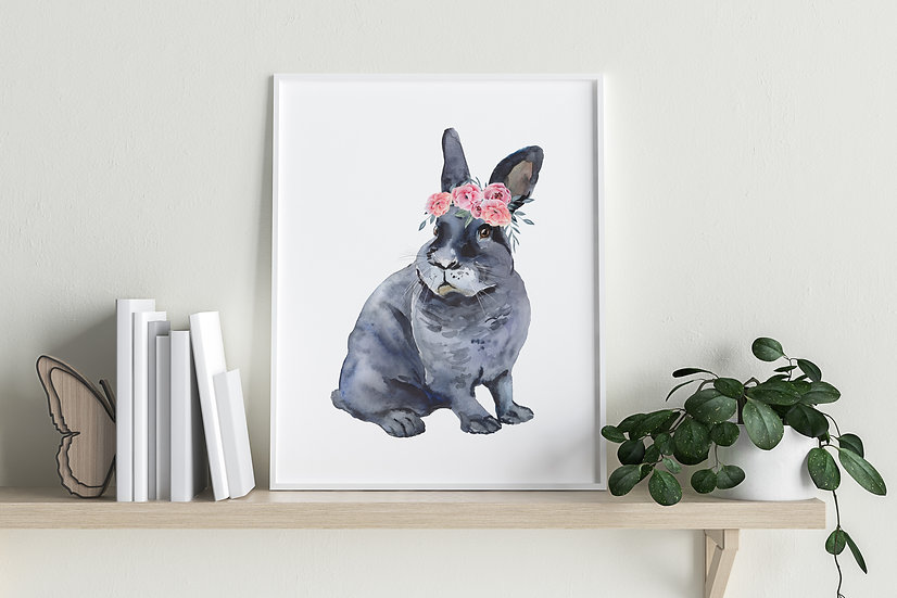 Grey Satin Bunny Floral Crown Print