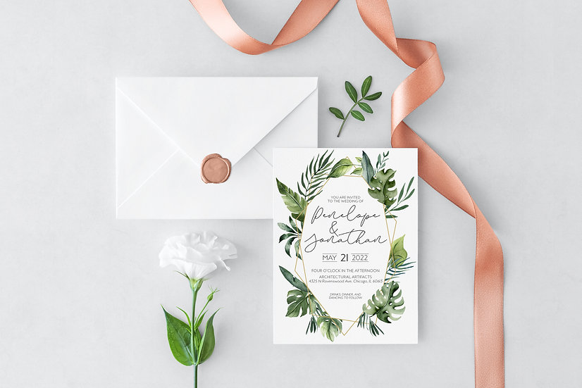 Tropical Watercolor Wedding Invitation