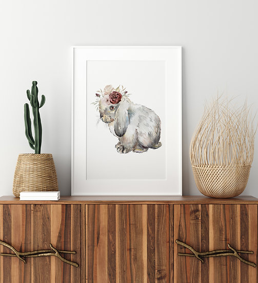 Gray Lop Bunny Floral Crown Print