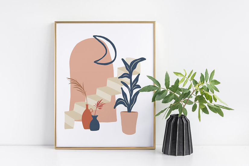Moon and Stairs Mid-Century Modern Print