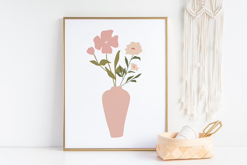 Pink Modern Floral Mid Century Print