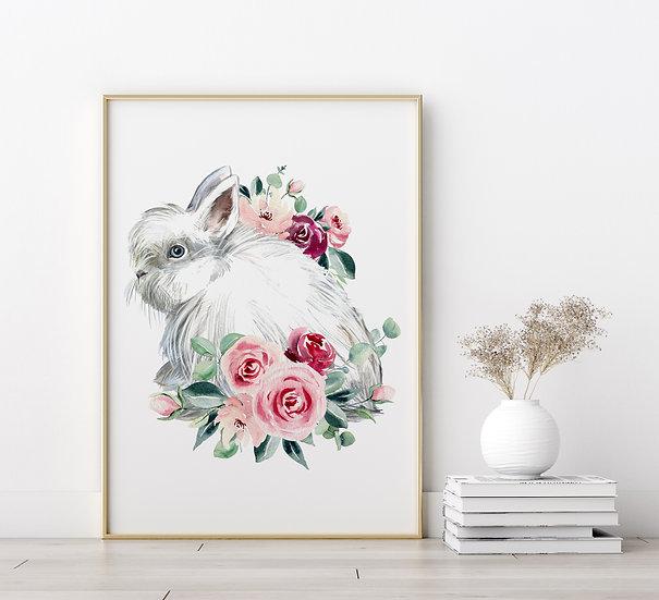 White Lionhead Floral Print