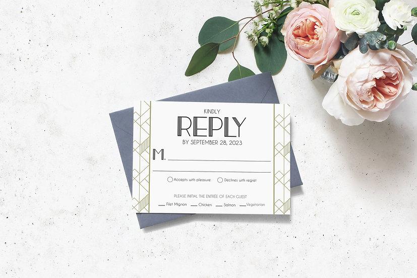 Art Deco Wedding RSVP Card