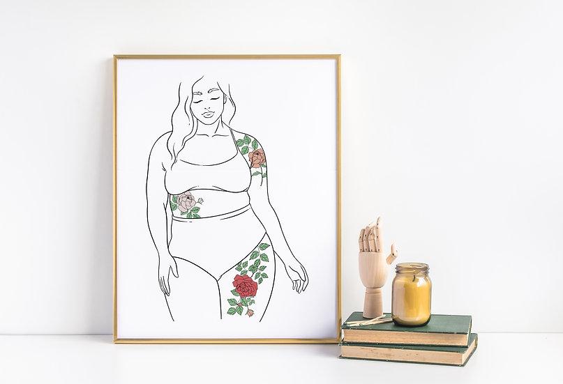 Curvy Tattooed Floral Women Line Art Print