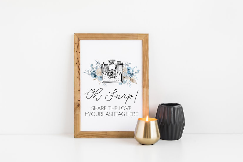 Oh Snap Blue Floral Watercolor Hashtag Wedding Sign