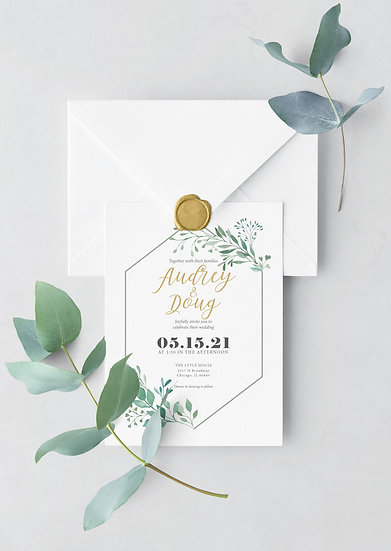 Leaf Watercolor Wedding Invitation