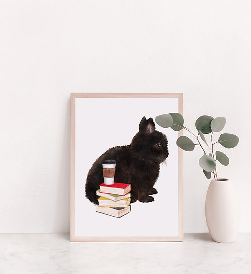 Black Dwarf With Coffee and Book Print
