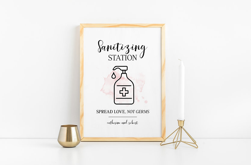 Sanitizing Station - COVID Guidelines and Safety Wedding Sign