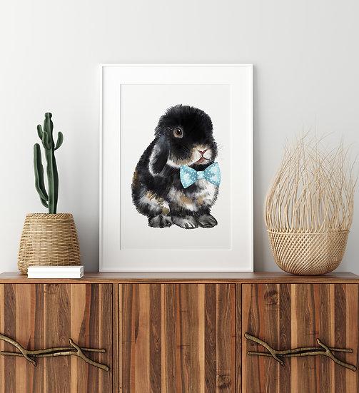 Black Lop Bunny Bowtie Print