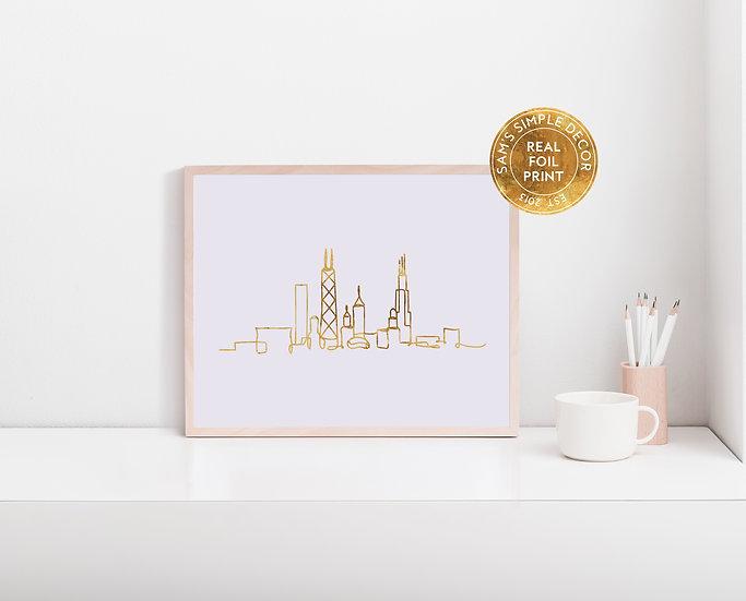 Chicago Skyline - Real Foil Print