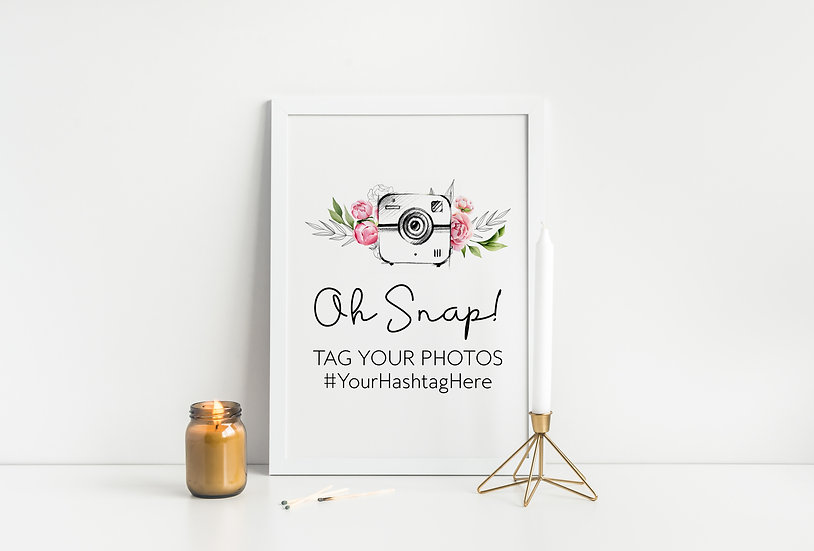 Oh Snap Pink Floral Watercolor Hashtag Wedding Sign