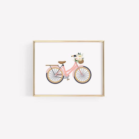 Pink Vintage Bike With Flowers Art Print