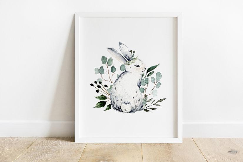 White Botanical Bunny Print