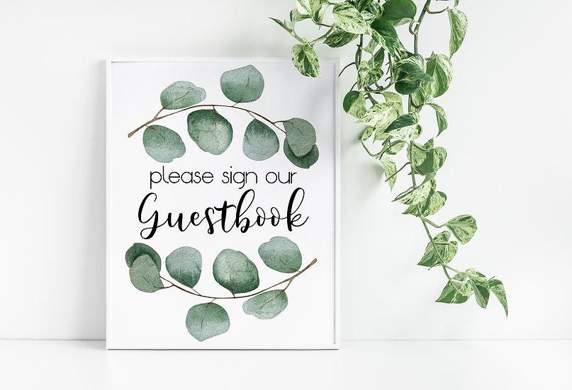 Eucalyptus Watercolor Guestbook Wedding Sign