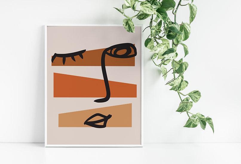 Mid Century Modern Geometric Face Line Art Print