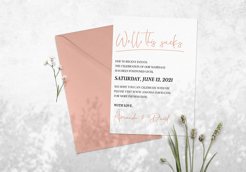 Well, This Sucks - Save Our New Date Wedding Card