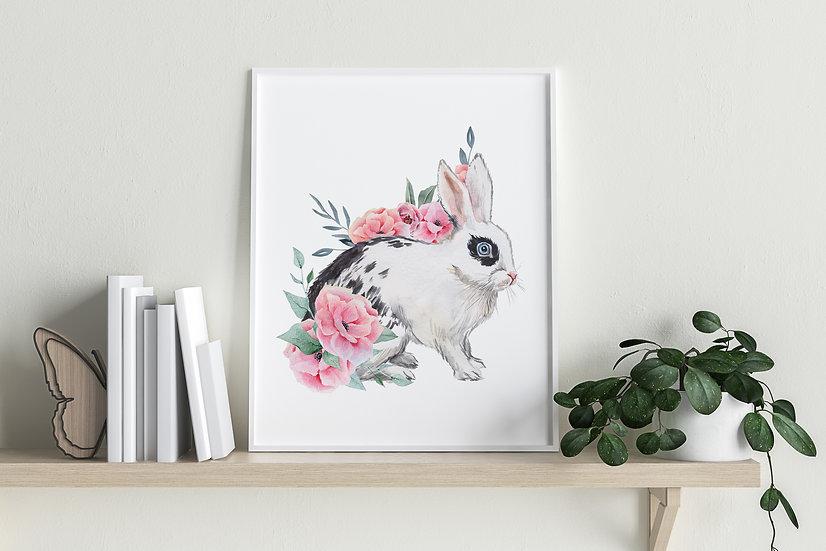 Floral English Spot Bunny Print