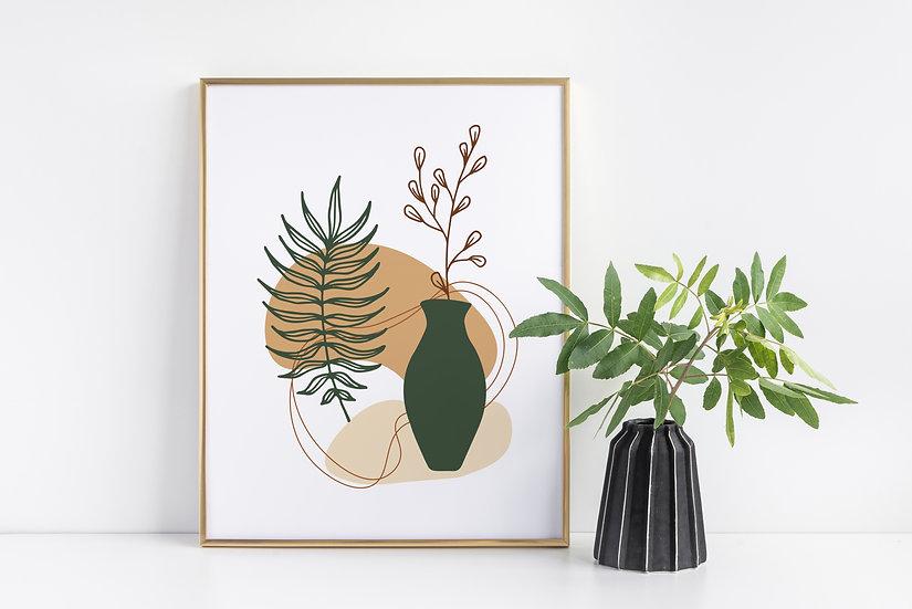 Botanical Mid Century Modern Abstract Print