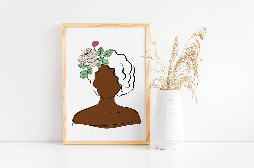 Woman of Color Floral Modern Line Art Portrait Print