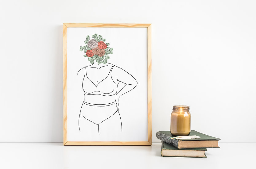 Plant Head Curvy Women Link Art Print