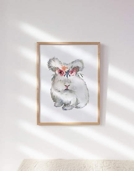 White Lionhead with Floral Crown Print