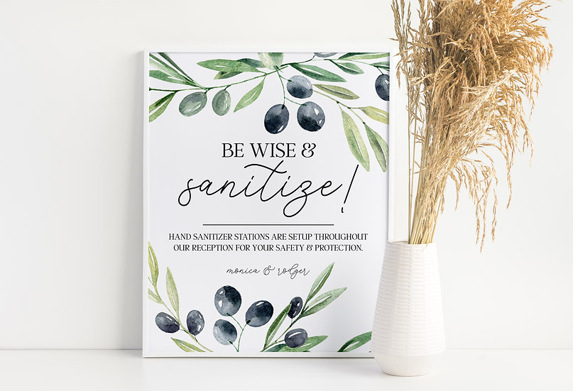 Be Wise and Sanitize - Sanitize Station Wedding Sign