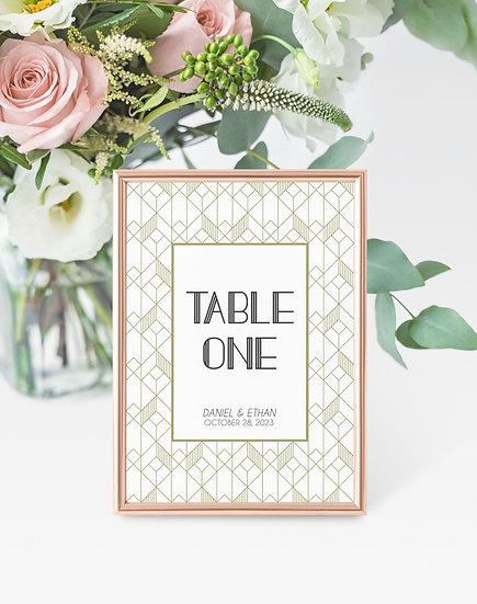 Art Deco Wedding Table Numbers