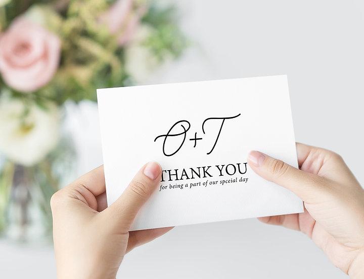Minimal Typography Wedding Thank You Cards
