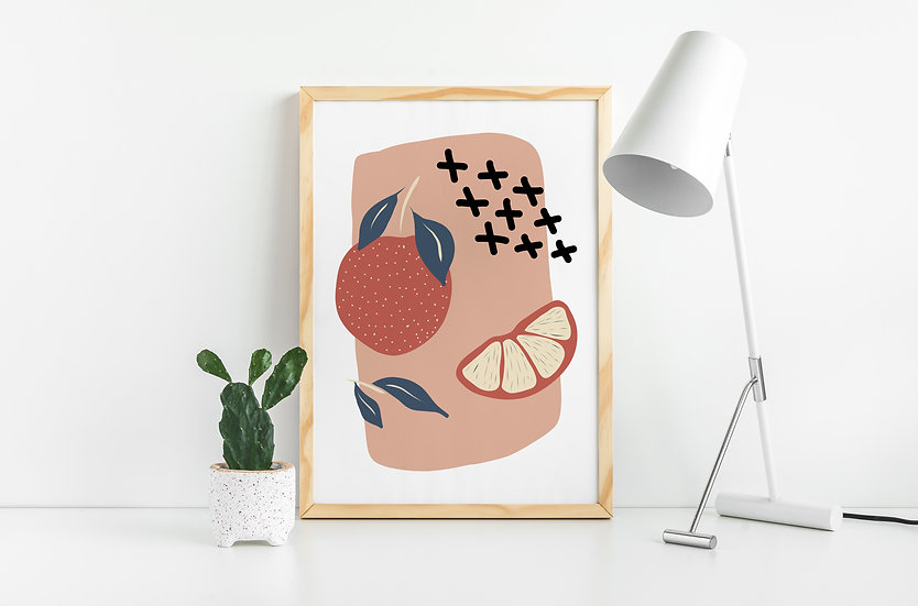 Modern Orange Fruit Art Print