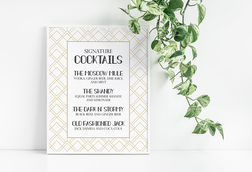 Art Deco Signature Cocktails Wedding Sign