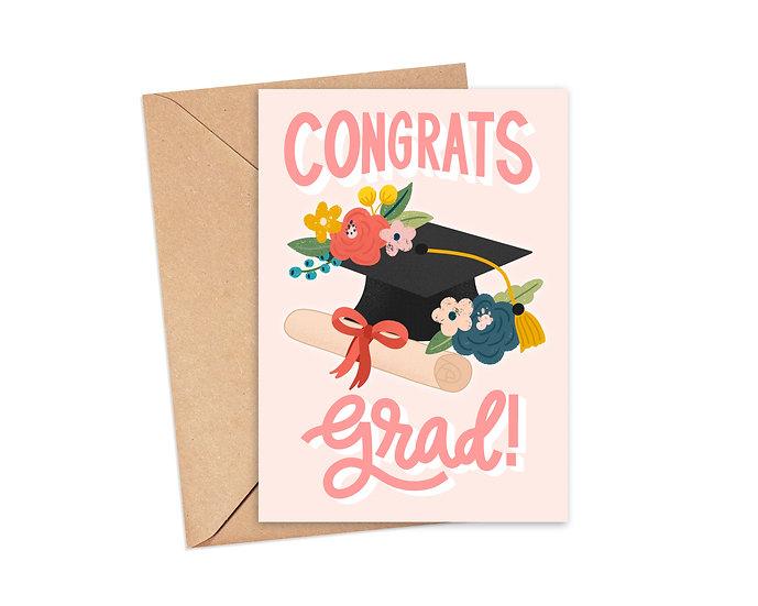 Congrats Grad! Floral Graduation Cap Card