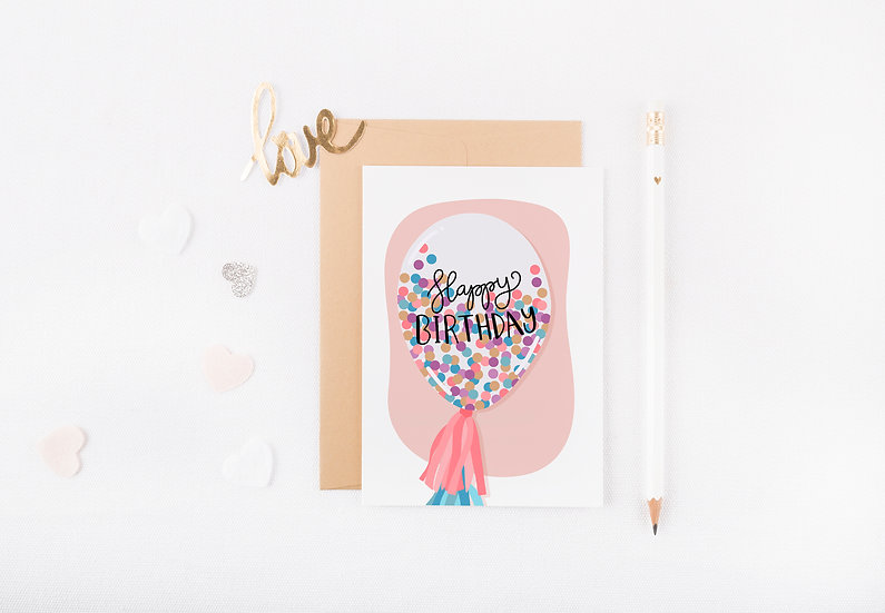 Confetti Balloon - Birthday Greeting Card