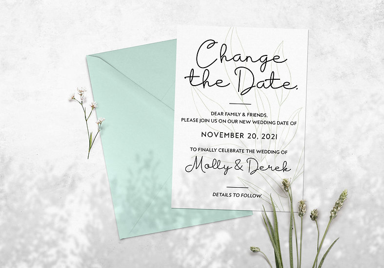 Change the Date Wedding Postponement Card