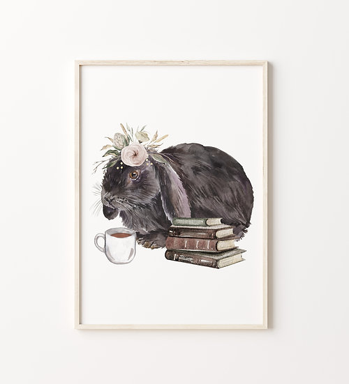 Gray Floral Lop Bunny Coffee and Book Print