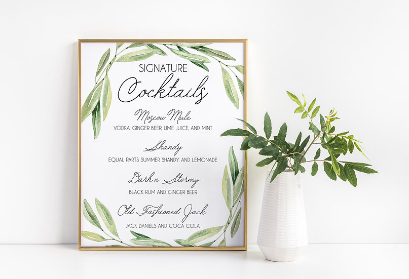 Watercolor Leaves Signature Cocktails Wedding Sign