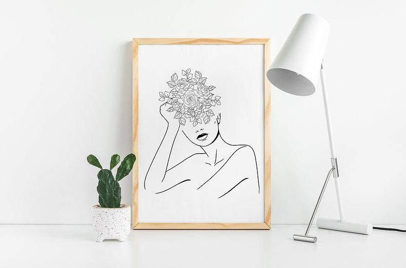 Minimal Woman Floral Line Art Print