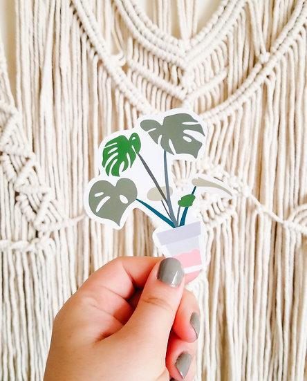 Potted Monstera Deliciosa - Handmade Plant Sticker